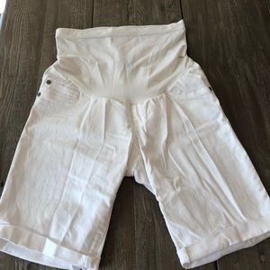 Maternity white jean shorts
